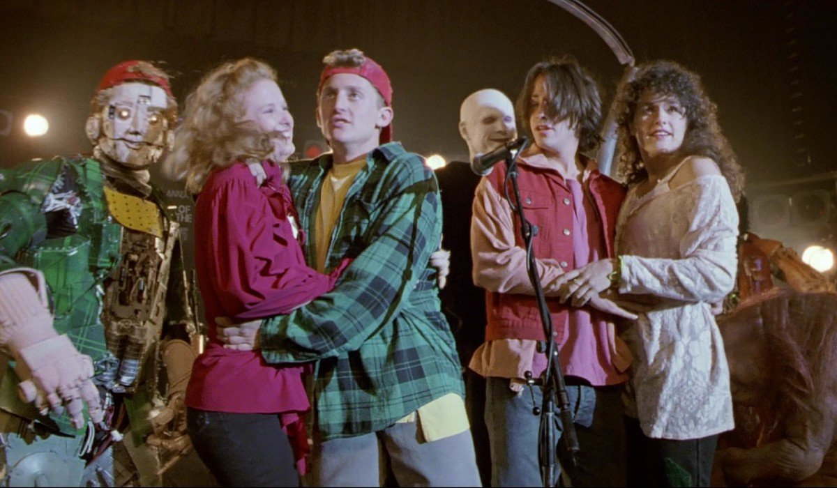 Bill & Ted's Bogus Journey Bill, Ted, and the princesses on stage