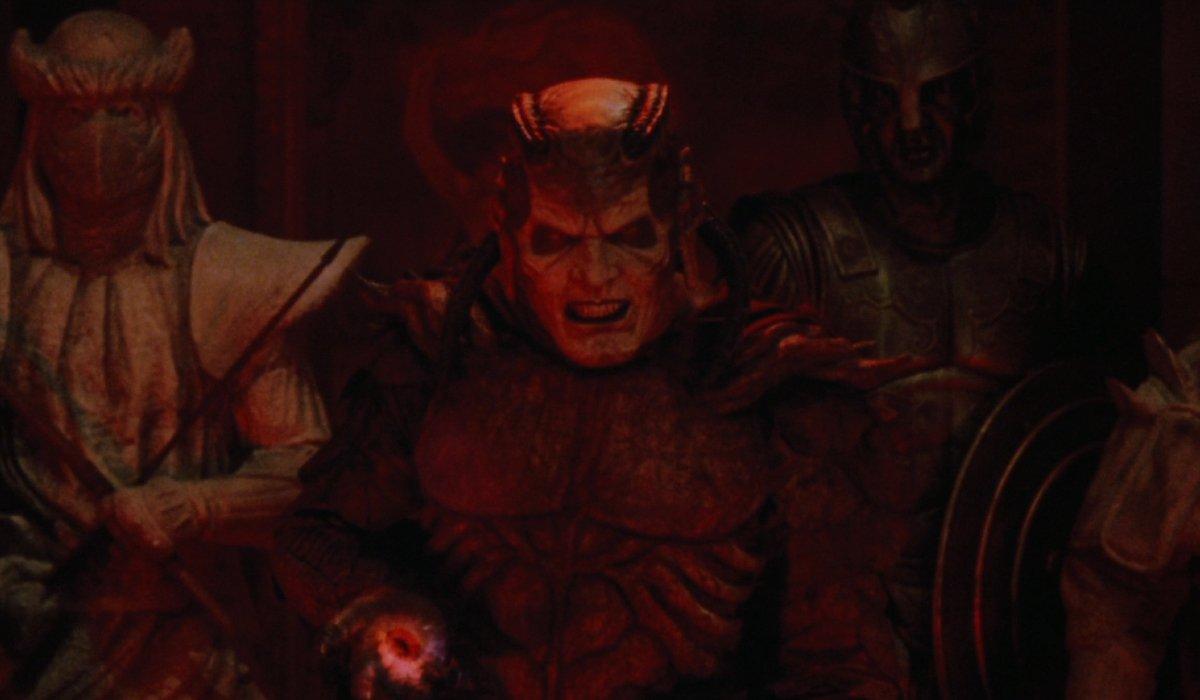 Wishmaster Djinn bathed in dark red light