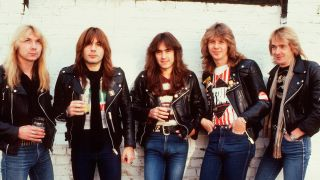 Iron Maiden standing against a wall in 1982