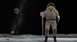 An artist's depiction of an astronaut returning to the moon.