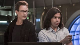 Tom Cavanagh and Carlos Valdes in The Flash