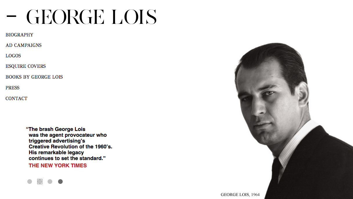 Portfolio site of George Lois with a man's portrait