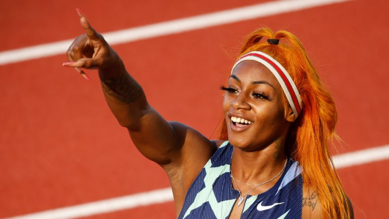 EUGENE, OREGON - JUNE 19: Sha'Carri Richardson reacts after competing in the Women's 100 Meter Semi-finals on day 2 of the 2020 U.S. Olympic Track & Field Team Trials at Hayward Field on June 19, 2021 in Eugene, Oregon. (Photo by Cliff Hawkins/Getty Images)