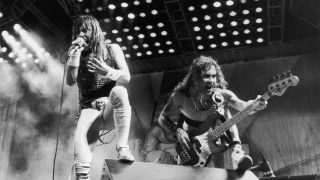 Iron Maiden in concert at the Rio rock festival, 24th January 1985