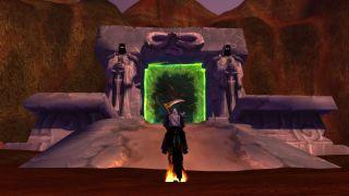 A Warlock Standing Before The Dark Portal In WoW: Burning Crusade Classic