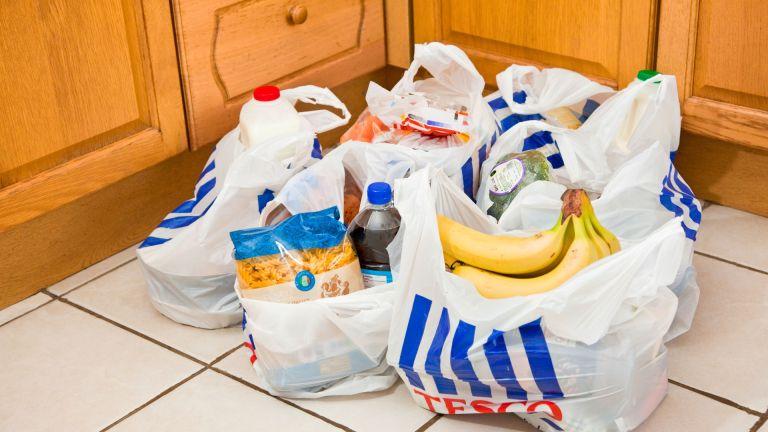 Tesco bags full of shopping