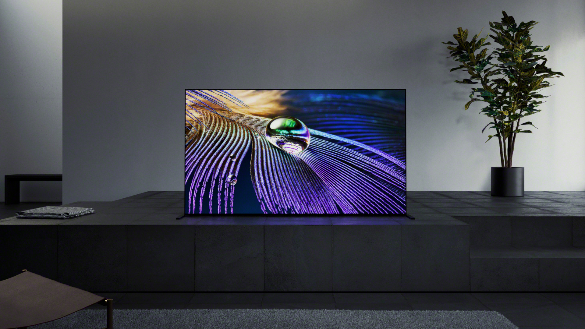 Sony A90J OLED on a black counter
