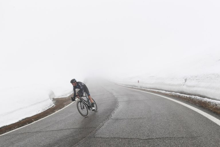 Romain Bardet on the descent of the Passo Giau during stage 16 of the Giro d'Italia 2021