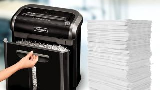 Best paper shredder: Woman using paper shredder