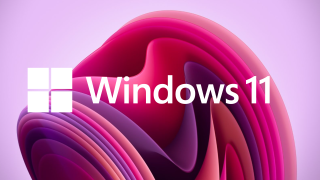 Windows 11 logo in front of the new wallpapers
