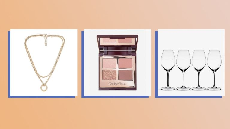 Three of the best Christmas gifts for friends 2021 from Revolve, Charlotte Tilbury, and Selfridges shown side-by-side