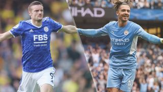 Leicester City vs Manchester City live stream — Jamie Vardy of Leicester City and Jack Grealish of Manchester City