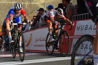 Groupama-FDJ's Arnaud Démare pips UAE Team Emirates' Diego Ulissi for third place on stage 2 of the 2020 UAE Tour at Hatta Dam