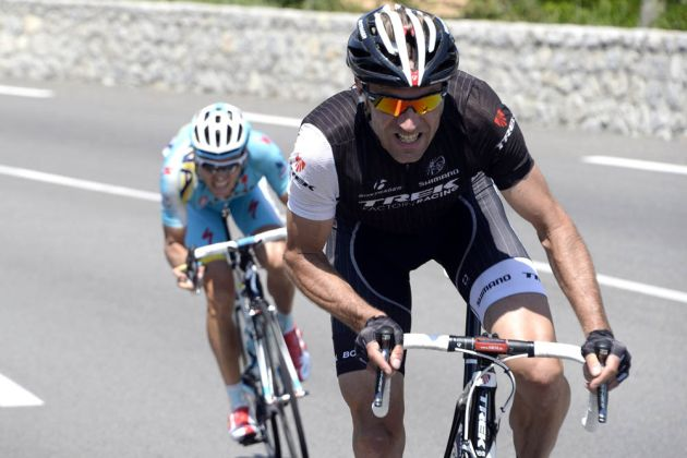 Jens Voigt attacks on stage three of the 2014 Criterium du Dauphine