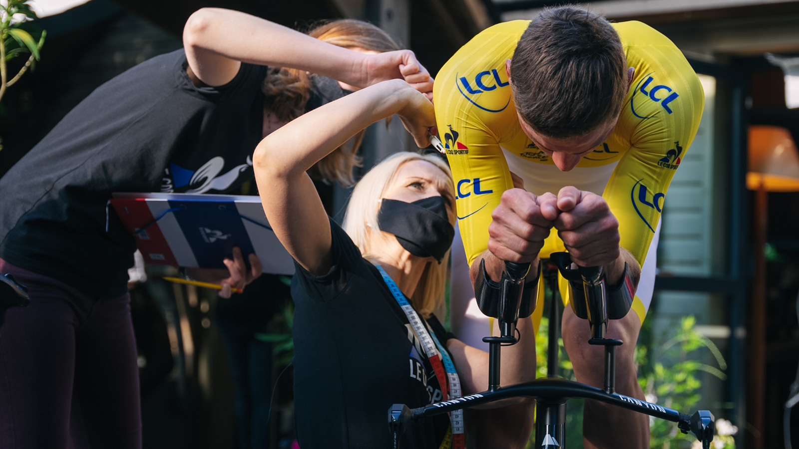 Mathieu Van der Poel gets fitted for a skinsuit ahead of the Tour de France stage 5 time trial