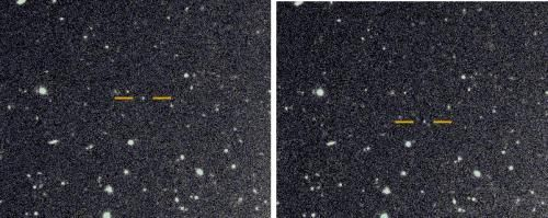The discovery images for the newly found very distant prograde moon of Saturn. They were taken on the Subaru telescope with about one hour between each image. The background stars and galaxies do not move, while the newly discovered Saturnian moon, highlighted with an orange bar, shows motion between the two images.