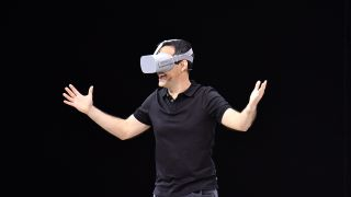 Facebook vice president of VR Hugo Barra demonstrates how to use the new Oculus Go during the annual F8 summit at the San Jose McEnery Convention Center in San Jose, California on May 1, 2018.