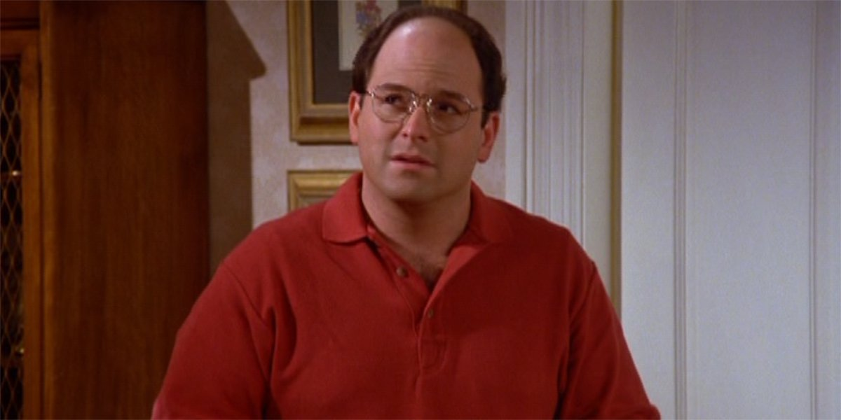 George Costanza wearing a red shirt in The Puffy Shirt episode of Seinfeld