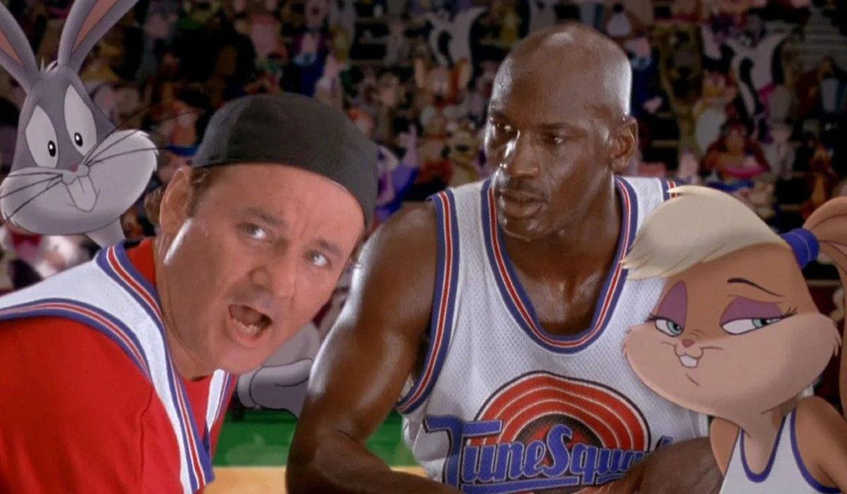 Space Jam Bugs, Bill Murray, Michael Jordan, and Lola huddle up on court