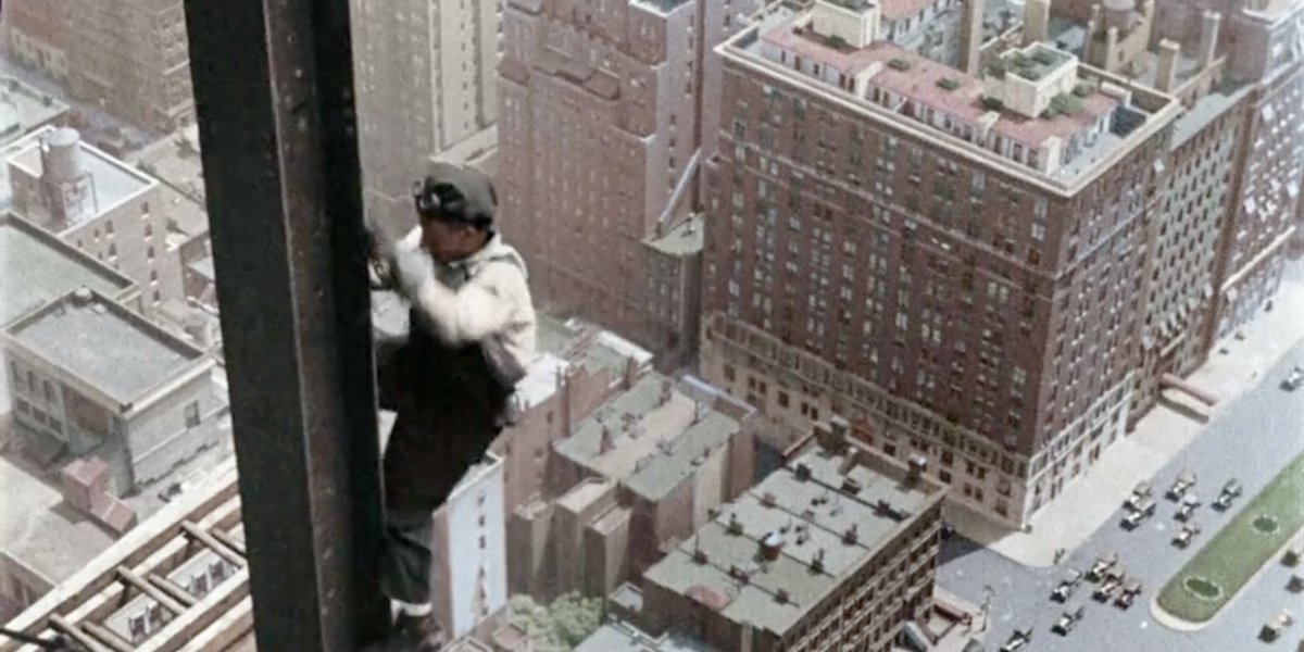 A construction worker in the 1920's in America in Color.