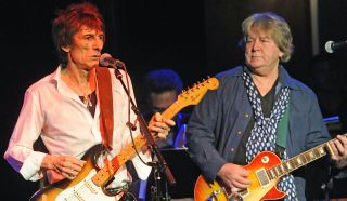 """Ronnie Wood (left) and Mick Taylor perform at the """"Tribute to Jimmy Reed"""" at The Cutting Room on November 7, 2013 in New York City"""