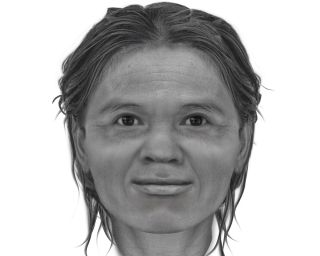 The facial approximation of a woman who lived more than 13,000 years ago in what is now Thailand.