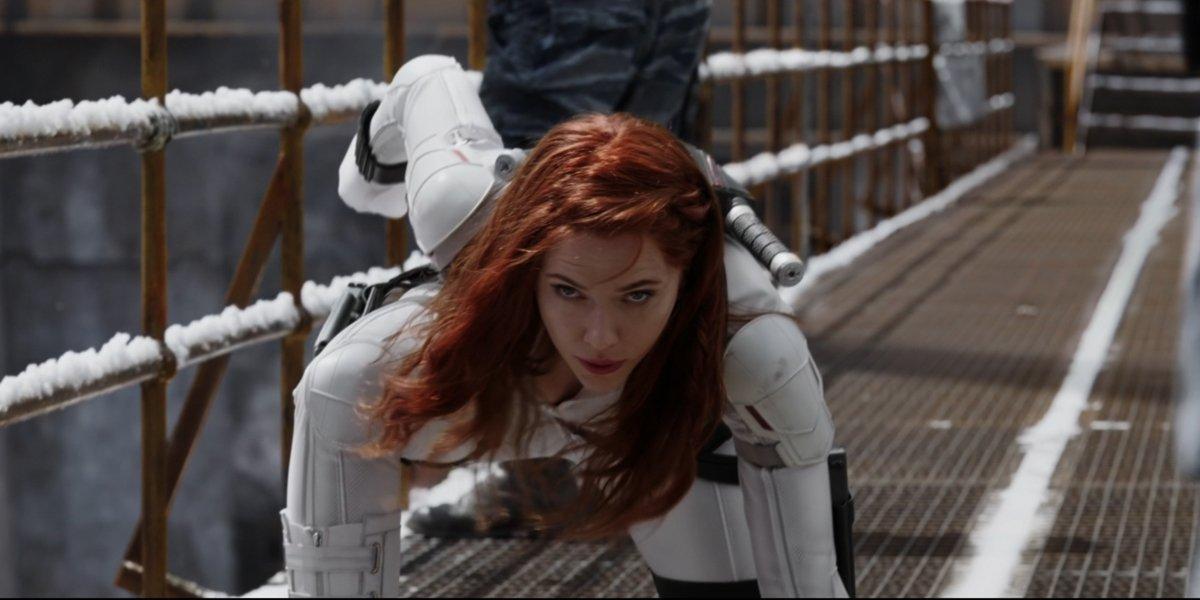 Natasha in her three point stand in Black Widow