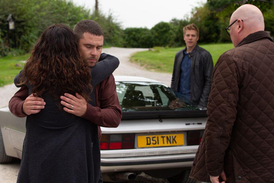 Robert and Aaron leave in Emmerdale
