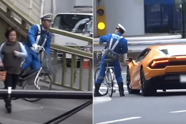 Watch Lamborghini Driver Chased Down By Police Officer On Bike After