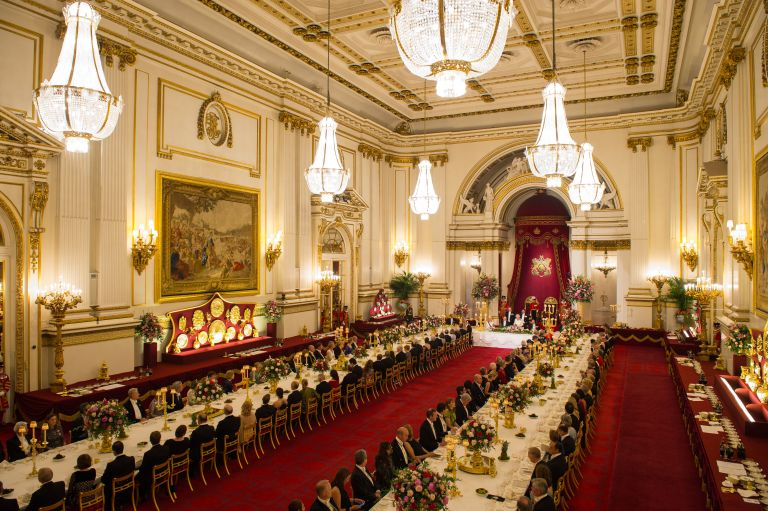 Royal family, Guests in the ballroom as Britain's Queen Elizabeth II and King Felipe VI of Spain attend the State Banquet at Buckingham Palace on July 12, 2017 in London, England