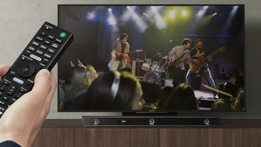 Showing the Sony HT-Z9F soundbar in use when viewing a rock concert