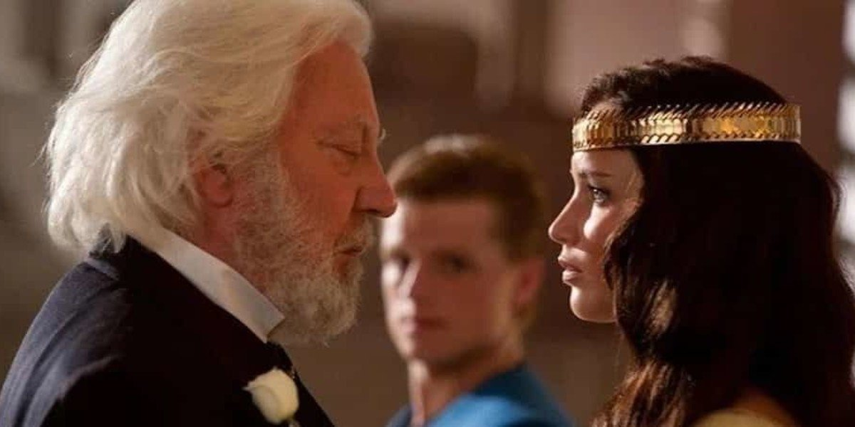 Jennifer Lawrence, Donald Sutherland, and Josh Hutcherson in the Hunger Games