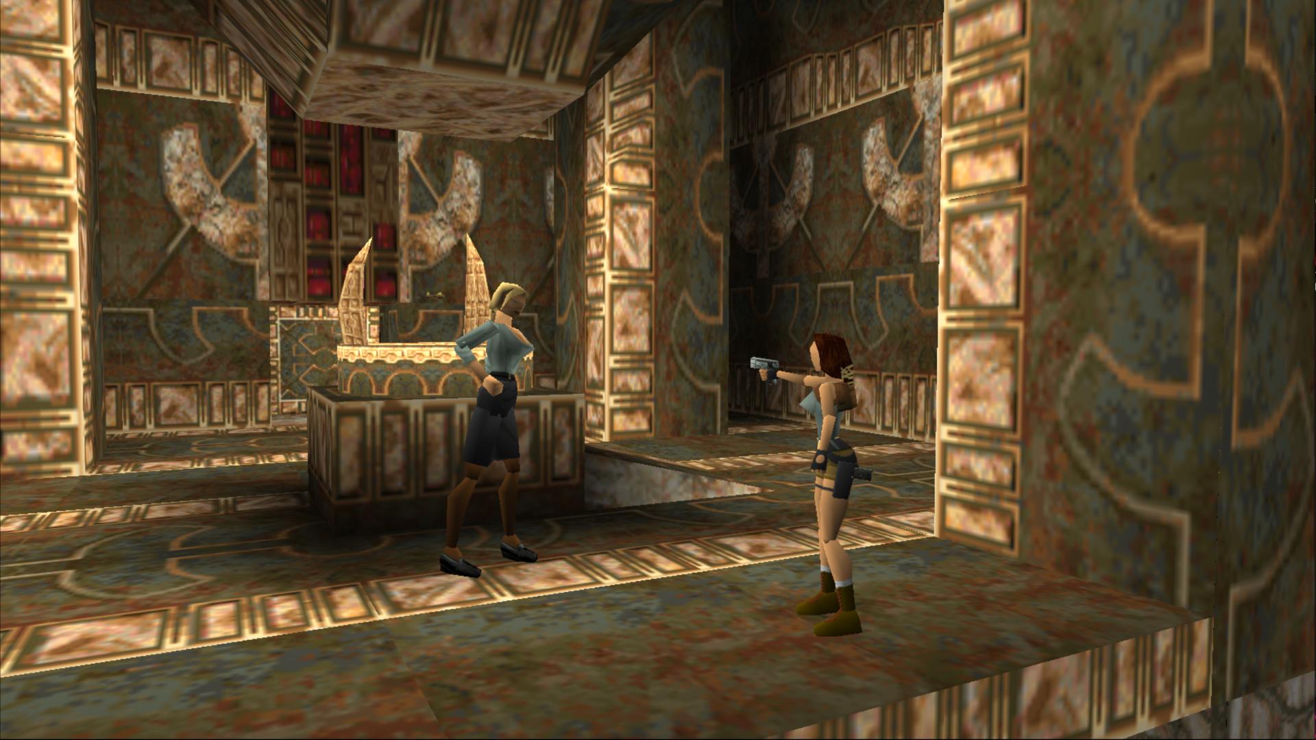 Lara and Natla in a cut-scene