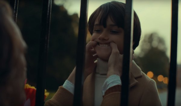 Joker Bruce Wayne being physically taught to smile by Arthur