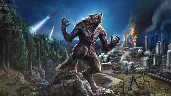 Ein Werwolf in der Nacht, richtet den Blick gen Himmel. Während im Hintergrund eine umweltverschmutzende Stadt sich von einem Wald abgrenzt und Suchhubschrauber umherfliegen.