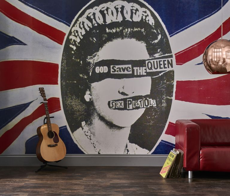 The Sex Pistols God Save The Queen – part of a collection aof rock murals and wallpapers produced rock roll