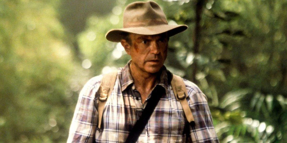 Jurassic Park III Sam Neill walking through the jungle, shocked