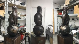 The newly completed statue of Félicette, the first and only cat to go to space, is pictured at the foundry where it was made before heading off to its new home at the International Space University in Strasbourg, France.