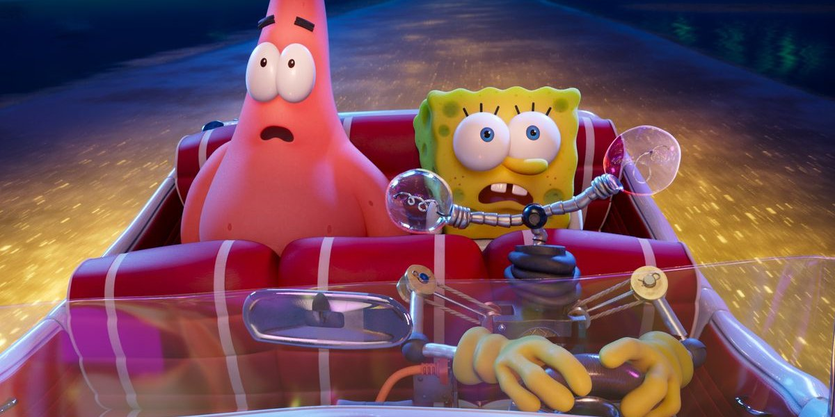 Patrick, SpongeBob, and Otto looking shocked in The SpongeBob Movie: Sponge on the Run