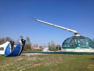 Photo of a KiteGen prototype at work