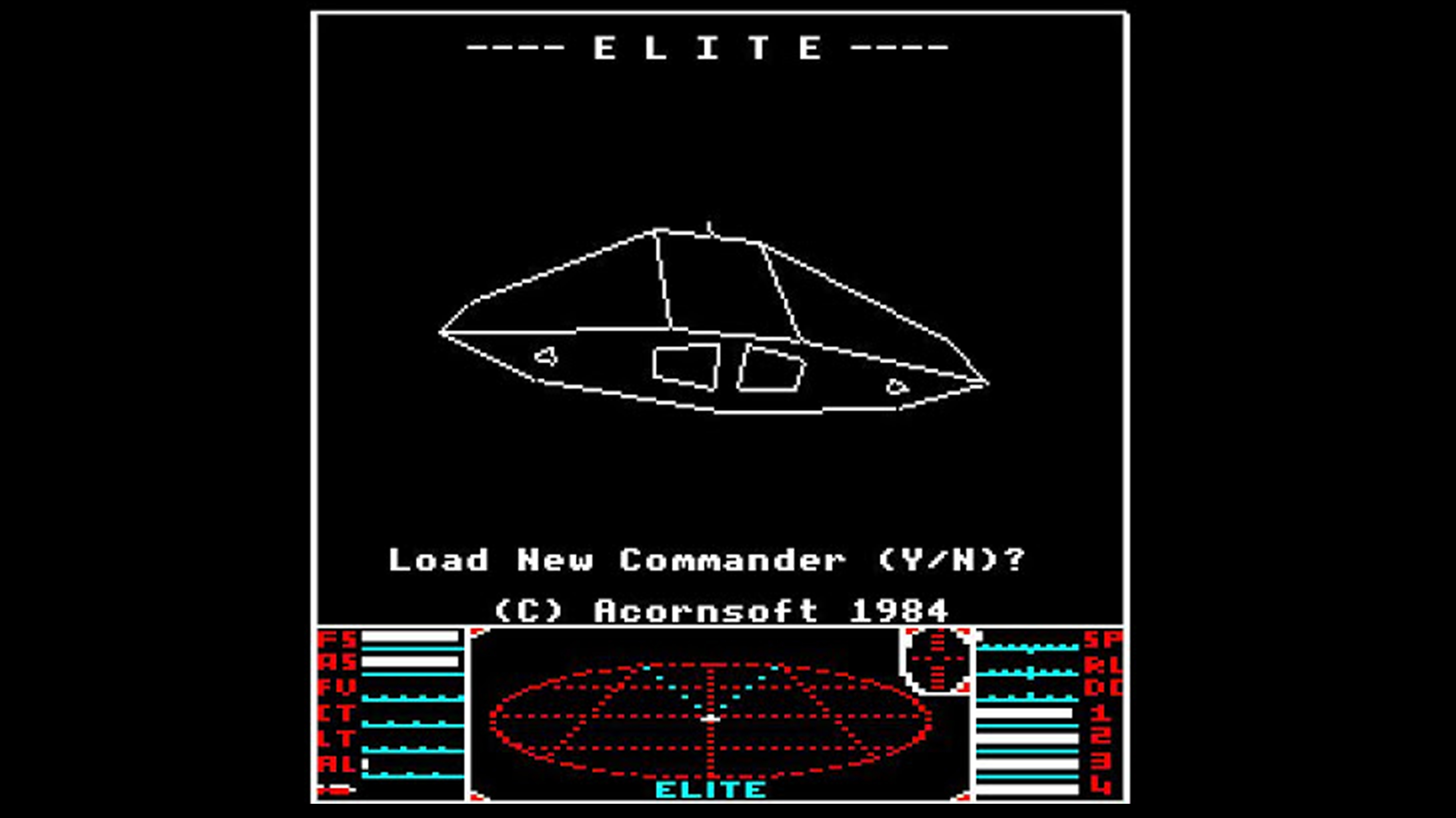Elite game title screen showing a navigation map at the bottom, a simple line space ship in the middle and saying