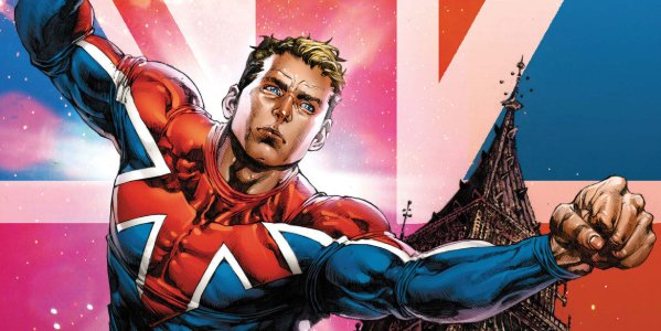 Captain Britain flying into action in front of Big Ben