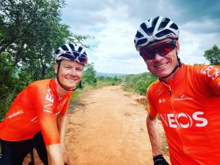 Dylan Van Baarle and Chris Froome during their South African training camp