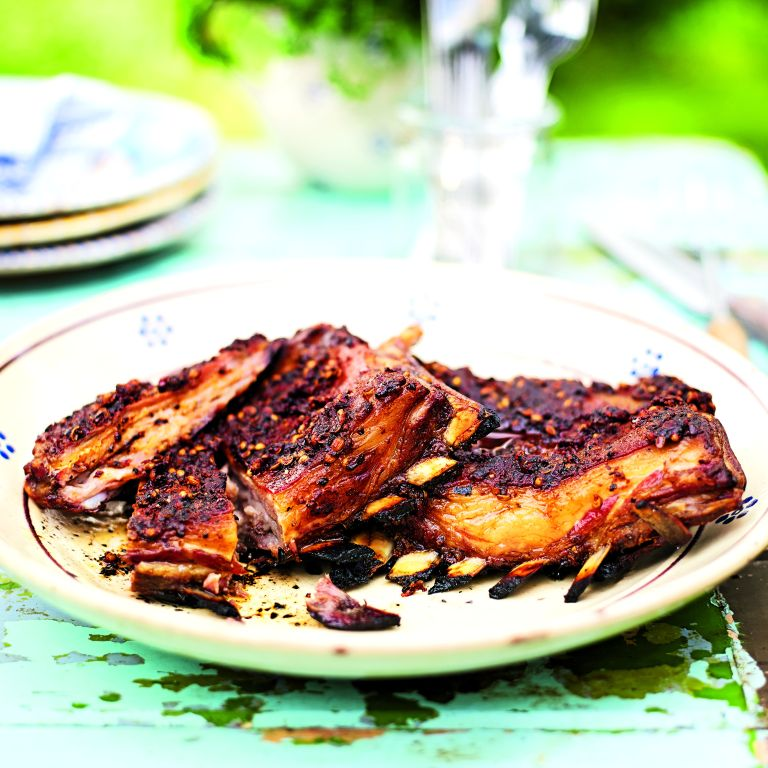 sticky mustard lamb ribs