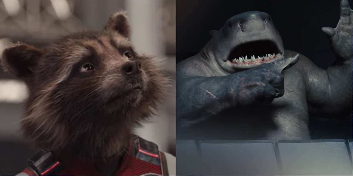 Rocket Racoon and King Shark side by side