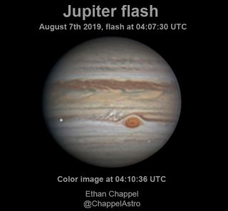 Image of Jupiter processed from images obtained by Ethan Chappel shortly after the impact. An image of the flash produced by the impact has been included at its right location over the color image.