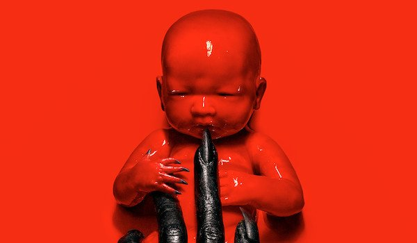 american horror story red baby black glove