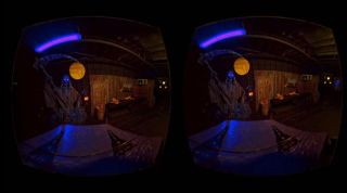 A dark virtual-reality scene (one for each eye).