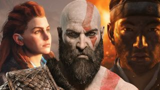 An illustration of Sony's past and future games, showing Aloy, Kratos, and the main character from Ghost of Tsushima.
