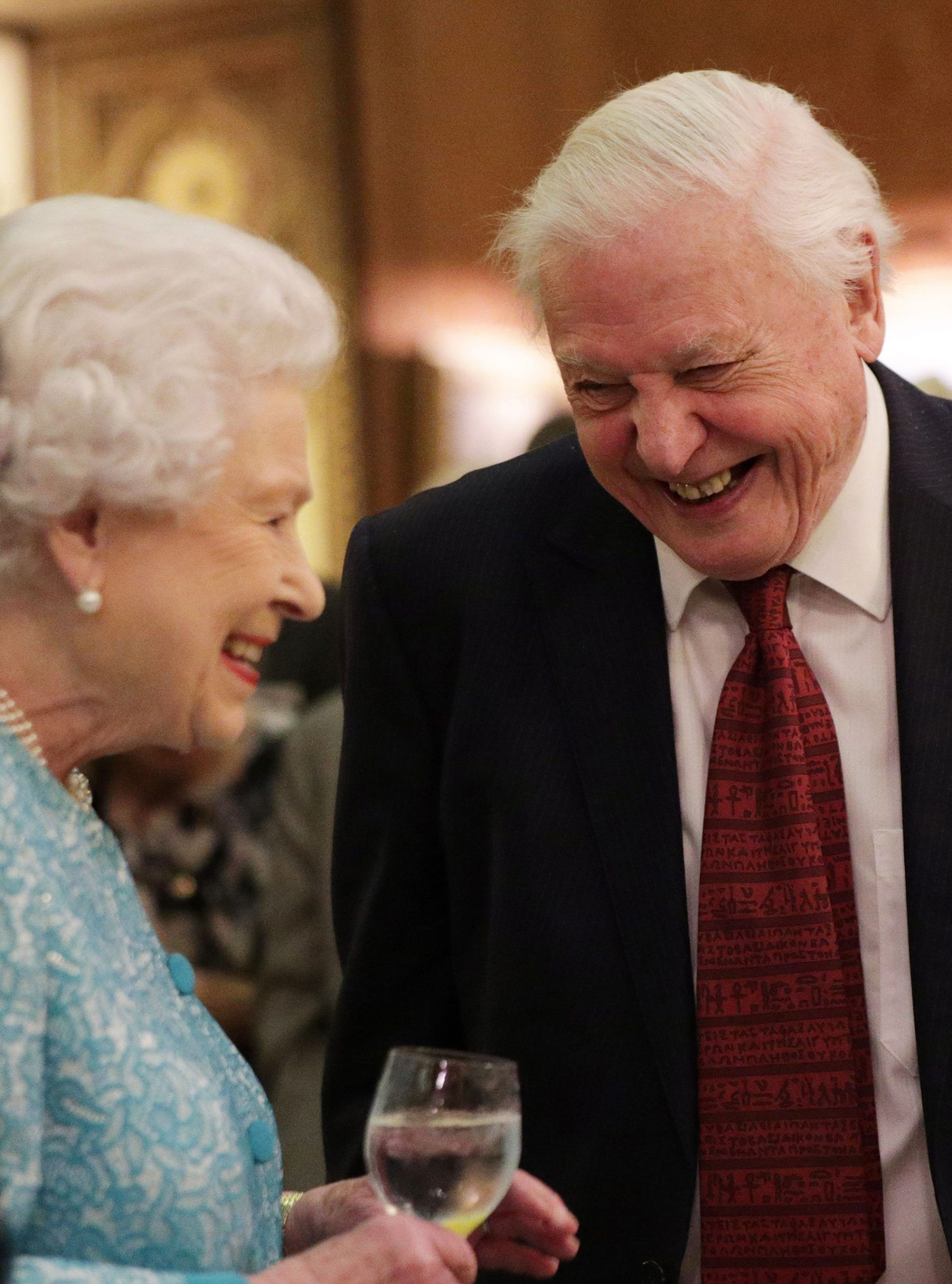 David Attenborough and Queen Laughing